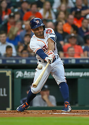 April 30, 2018 - Houston, TX, U.S. - HOUSTON, TX - APRIL 30:  Houston Astros second baseman Jose Altuve (27) grounds out to shortstop int the bottom of the first inning during the baseball game between the New York Yankees and Houston Astros on April 30, 2018 at Minute Maid Park in Houston, Texas.  (Photo by Leslie Plaza Johnson/Icon Sportswire) (Credit Image: © Leslie Plaza Johnson/Icon SMI via ZUMA Press)