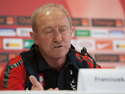 17.05.2012, Dolomitenstadion, Lienz, AUT, UEFA EURO 2012, Trainingscamp, Polen, Pressekonferenz, im Bild Headcoach Franciszek Smuda (POL) // Headcoach Franciszek Smuda (POL)during Pressconference of polish National Footballteam for preparation UEFA EURO 2012 at Dolomitenstadion, Lienz, Austria on 2012/05/17. EXPA Pictures © 2012, PhotoCredit: EXPA/ Johann Groder