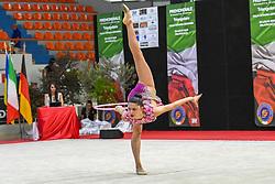 July 28, 2018 - Chieti, Abruzzo, Italy - Rhythmic gymnast Milena Baldassarri of Italy performs her hoop routine during the Rhythmic Gymnastics pre World Championship Italy-Ukraine-Germany at Palatricalle on 29th of July 2018 in Chieti Italy. (Credit Image: © Franco Romano/NurPhoto via ZUMA Press)