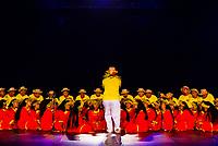 Te Ohi Vaihonuroa choir performing during the Heiva i Tahiti (July cultural festival), Place Toata, Papeete, Tahiti, French Polynesia.