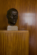 Lenin bust in preserved office of former Minister in charge of GDR secret police chief, Erich Mielke - an exhibit in 'Haus 1' the ministerial headquarters of the Stasi secret police in Communist East Germany, the GDR. Built in 1960, the complex now known as the Stasi Museum. Before the fall of the Wall, it was a 22-hectare complex of espionage whose centrepiece is the office and working quarters of the former Minister of State Security, Mielke who considered their role as the 'shield and sword of the party', conducting one of the world's most efficient spying operations against its political dissenters during its 40-year old socialist history. After the fall of the socialist state, Mielke was sentenced to 6 years in prison and died in 2000, aged 92.