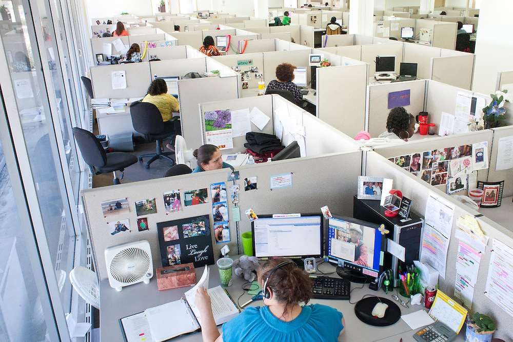 Customer-service agents at the company Greenwood & Hall answer calls from students and parents for 35 colleges and universities, including from this call center, in Bryan, Tex. Some of the company's employees have visited the campuses they represent