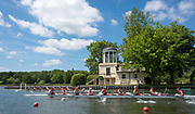 """Henley. Berks, United Kingdom. <br /> <br /> S8, Berkshire foreground, Sir Joseph's University and Northeasten University USA pass the, """"Temple Island  """"Folly"""" as they compete at the 2017 Henley' Women's Regatta. Rowing on, Henley Reach. River Thames. <br /> <br /> <br /> Saturday  17/06/2017<br /> <br /> <br /> [Mandatory Credit Peter SPURRIER/Intersport Images]"""