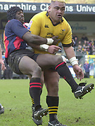 Wycombe, Buckinghamshire, 29th February 2004, Adams Park, [Mandatory Credit; Peter Spurrier/Intersport Images],<br /> 29/02/2004  -  Powergen  Cup - London Wasps v Pertemps Bees <br /> [R] Wasps's Trevor Leota, carries, Bees Luke Nabaro,