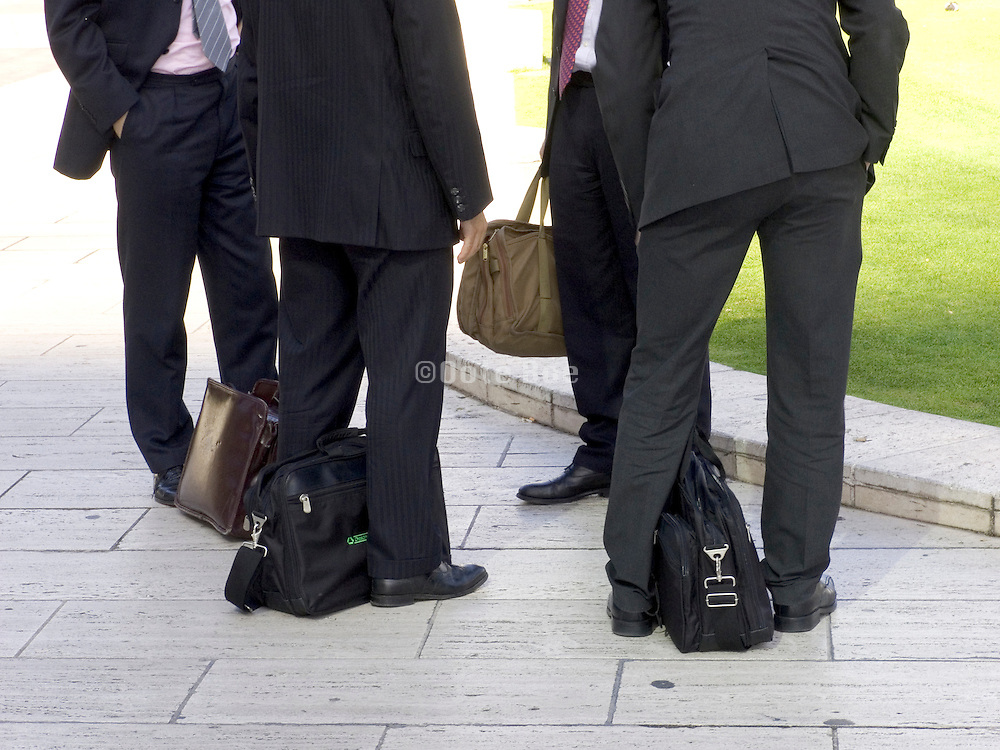 business men gathering outside for a meeting