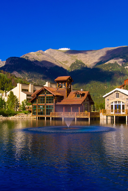 Bumper boats on the pond at Copper Mountain ski resort in summer, Colorado USA