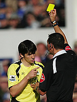 Photo: Andi Thompson.<br />Everton v Manchester City. The Barclays Premiership. 30/09/2006.<br />Manchester City's Joey Barton is given a yellow card.