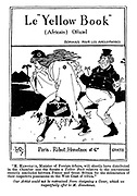 """Le """"Yellow Book"""" (Africain) Officiel. Romans pour Les Anglophobes. (a Victorian cartoon shows a parody of the book cover The Yellow Book with John Bull following Marianne to an Unknown Destination)"""