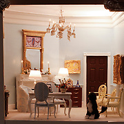 A scale model of the real White House is on display at the Reagan Library in Simi Valley, California. This is the Dressing Room and features a miniatutre version of Bo, the Obama's dog.