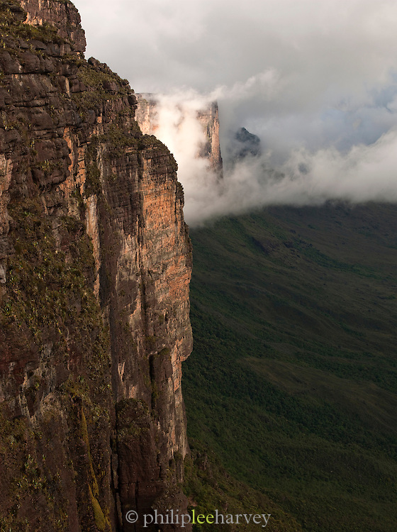 The huge rock wall at the edge of Mount Roraima, a vast flat topped mountain in Canaima National Park, Venezuela