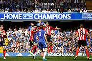 Chelsea Defender John Terry (26) jumps highest to win a header during the Premier League match between Chelsea and Sunderland at Stamford Bridge, London, England on 21 May 2017. Photo by Andy Walter.