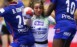 HERNING, DENMARK - DECEMBER 6: Nina Zulic tries to pass Beatrice Edwige and Grace Zaadi Deuna during the EHF Euro 2020 Group A match between Slovenia and France in Jyske Bank Boxen, Herning, Denmark on December 6, 2020. Photo Credit: Allan Jensen/EVENTMEDIA.