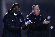 Jimmy Floyd Hasselbaink, the  manager of Northampton Town (l) and Kenny Jackett, the manager of Portsmouth look on from the touchline. . EFL Skybet Football League one match, Northampton Town v Portsmouth at the Sixfields Stadium in Northampton on Tuesday 12th September 2017. <br /> pic by Bradley Collyer, Andrew Orchard sports photography.
