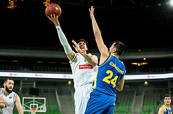 Aleksandar Lazic of Petrol Olimpija vs Simo Atanackovic of Hopsi during basketball match between KK Petrol Olimpija and KK Hopsi Polzela in Round #2 of Liga NovaKBM 2018/19, on October 21, 2018, in Arena Stozice, Ljubljana, Slovenia. Photo by Vid Ponikvar / Sportida