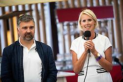 PORTOROZ, SLOVENIA - SEPTEMBER 16:  Lovro Peterlin and Petra Juvancic at Zdruzenje manager VIP tournament during the WTA 250 Zavarovalnica Sava Portoroz at SRC Marina, on September 16, 2021 in Portoroz / Portorose, Slovenia. Photo by Vid Ponikvar / Sportida