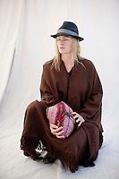 Woman shaman holding her mesa bundle. Graduate student of Alberto Villodo's Four Winds Society.