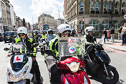 Trainee cab drivers participate in the demonstration jamming the streets of Southwark in protest over the refusal to place a Black Cab taxi rank outside the entrance to The Shard. May 2013 London