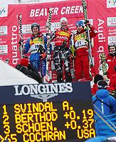 Alpint<br /> FIS World Cup Verdenscup <br /> Foto: Gepa/Digitalsport<br /> NORWAY ONLY<br /> <br /> 30.11.2006<br /> Beaver Creek<br /> Marc Berthod (SUI), Aksel Lund Svindal (NOR), Rainer Schönfelder (AUT) und Peter Fill (ITA)