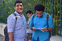 June 4, 2017 - Cairo, Cairo, Egypt - Egyptian students stand outside their school in the first day of high school exams, in Cairo, Egypt, on June 04, 2017  (Credit Image: © Amr Sayed/APA Images via ZUMA Wire)