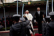 Pope Benedict XVI during the oficial reception by the Portuguese President Cavaco Silva. The Pope is on a four-day visit to Portugal, one of the countries with the highest percentage of Catholics in Europe, Lisbon, Portugal.
