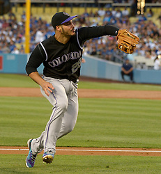 June 24, 2017 - Los Angeles, California, U.S. - Colorado Rockies third baseman Nolan Arenado catches a failed bunt attempt by Los Angeles Dodgers' Clayton Kershaw (not pictured) in the second inning of a Major League baseball game at Dodger Stadium on Saturday, June 24, 2017 in Los Angeles. Los Angeles. (Photo by Keith Birmingham, Pasadena Star-News/SCNG) (Credit Image: © San Gabriel Valley Tribune via ZUMA Wire)