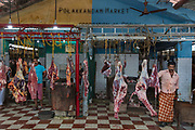Catering mainly for Mulims, meat for sale in  the Polakkandam Market on 28th February 2018 in Kochi, Kerala, India.