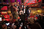 Winnaars van de Gouden Kalveren (op de voorste rij Beppie Melissen, Carice van Houten, Nasrdin Dchar en Joost van Ginkel) poseren voor de fotografen.Op de laatste avond van het Nederlands Film Festival NFF worden de Gouden Kalveren uitgereikt, Nederlands hoogste filmprijs.<br /> <br /> Winners of the Gouden Kalf are posing for the press. The Gouden Kalf (Golden Calf), the award for the best movie, is presented at the gala on the last evening of the Nederlands Film Festival in Utrecht. Carice van Houten won her fifth Gouden Kalf, a record.