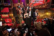 Winnaars van de Gouden Kalveren (op de voorste rij Beppie Melissen, Carice van Houten, Nasrdin Dchar en Joost van Ginkel) poseren voor de fotografen.Op de laatste avond van het Nederlands Film Festival NFF worden de Gouden Kalveren uitgereikt, Nederlands hoogste filmprijs.<br /> <br /> Winners of the Gouden Kalf are posing for the press. The Gouden Kalf (Golden Calf), the award for the best movie, is presented at the gala on the last evening of the Nederlands Film Festival in Utrecht. Carice van Houten won her fifth Gouden Kalf, a record.