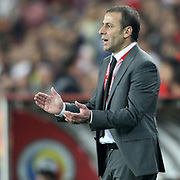 Turkey's head coach Abdullah Avci  during their FIFA World Cup 2014 qualifying soccer match Turkey betwen Romania at Sukru Saracoglu stadium in Istanbul october 12, 2012. Photo by TURKPIX