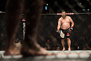 LAS VEGAS, NV - JULY 7:  Roy Nelson prepares to fight Derrick Lewis during UFC Fight Night at MGM Grand Garden Arena on July 7, 2016 in Las Vegas, Nevada. (Photo by Cooper Neill/Zuffa LLC/Zuffa LLC via Getty Images) *** Local Caption *** Roy Nelson