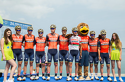 Borut Bozic (SLO) of Bahrain-Merida, Domen Novak (SLO) of Bahrain-Merida, Luka Pibernik (SLO) of Bahrain-Merida, David Per (SLO) of Bahrain-Merida, Giovanni Visconti (ITA) of Bahrain-Merida, Kanstantsin Siutsou (BLR) of Bahrain-Merida, Sonny Colbrelli (ITA) of Bahrain-Merida, Jon Ander Insausti Irastorza (ESP) of Bahrain-Merida during Stage 1 of 24th Tour of Slovenia 2017 / Tour de Slovenie from Koper to Kocevje (159,4 km) cycling race on June 15, 2017 in Slovenia. Photo by Vid Ponikvar / Sportida