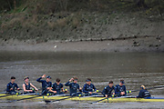 London. United Kingdom,   Strong celebrate after winning the 2017. Oxford University, Annual Trial Eights, raced over the Championship Course, Putney to Mortlake. River Thames, <br /> <br /> Wednesday  06/12/2017<br /> <br /> [Mandatory Credit:Peter SPURRIER Intersport Images]<br /> <br /> OUBC Crew Names. <br /> STRONG Black Shirts<br /> Bow. Luke Robinson<br /> 2. Angus Forbes<br /> 3. Nicholas Elkington<br /> 4. Benedict Aldous<br /> 5. Tobias Schroder<br /> 6. Joshua Bugajski<br /> 7. Claas Mertens<br /> Stroke. Felix Drinkall<br /> Cox. Anna Carbery