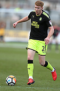 Brad Halliday of Cambridge Utd in action.The Emirates FA Cup, 2nd round match, Newport County v Cambridge United at Rodney Parade in Newport, South Wales on Sunday 3rd December 2017.<br /> pic by Andrew Orchard,  Andrew Orchard sports photography.