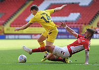 Fleetwood Town's Chris Long is fouled by Charlton Athletic's Patrick Bauer<br /> <br /> Photographer Kevin Barnes/CameraSport<br /> <br /> The EFL Sky Bet League One - Charlton Athletic v Fleetwood Town - Saturday August 25th 2018 - The Valley - London<br /> <br /> World Copyright © 2018 CameraSport. All rights reserved. 43 Linden Ave. Countesthorpe. Leicester. England. LE8 5PG - Tel: +44 (0) 116 277 4147 - admin@camerasport.com - www.camerasport.com