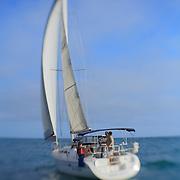 Sailboat Go Time Under Full Sail Stern View - Newport Beach, CA - Lensbaby