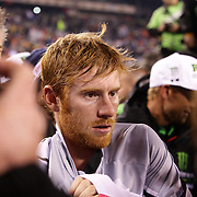 Ryan Villopoto, Monster Energy Kawasaki, after his victory in round 16 of the Monster Energy AMA Supercross series held at MetLife Stadium. The win clinched Villopoto his fourth consecutive 450SX Class Championship. 62,217 fans attended the event held for the first time at MetLife Stadium, New Jersey, USA. 26th April 2014. Photo Tim Clayton