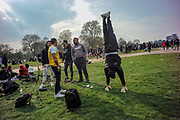 Cannabis legalisation supporters gather to smoke cannabis in London's Hyde Park on Tuesday, April 20 2021. Members of London Metropolitan Police are attending to maintain order and supervise. (VXP Photo/ Andrew Blowers)