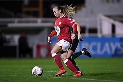 Ebony Salmon of Bristol City Women is marked by Hanna Godfrey of Tottenham Hotspur Women - Mandatory by-line: Ryan Hiscott/JMP - 14/11/2020 - FOOTBALL - Twerton Park - Bath, England - Bristol City Women v Tottenham Hotspur Women - Barclays FA Women's Super League