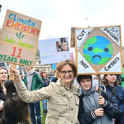 Hundreds of noise youths on London - YouthStrike4Climate - Strike/3 at Parliament Square march to centre London, UK. 12 April 2019