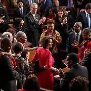 Rep. Nancy Pelosi (D-Calif.) reacts as she is announced the next Speaker of the House during the first day of the 116th session of Congress on Thursday, January 3, 2019.