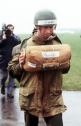 File photo dated 18/4/1978 of the Prince of Wales taking part in parachute training at RAF Brize Norton. He is Friday celebrating 40 years as Colonel-In-Chief of the Parachute Regiment with a visit to Merville Barracks in Colchester to meet troops, watch parachute and equipment demonstrations and attend a parade.