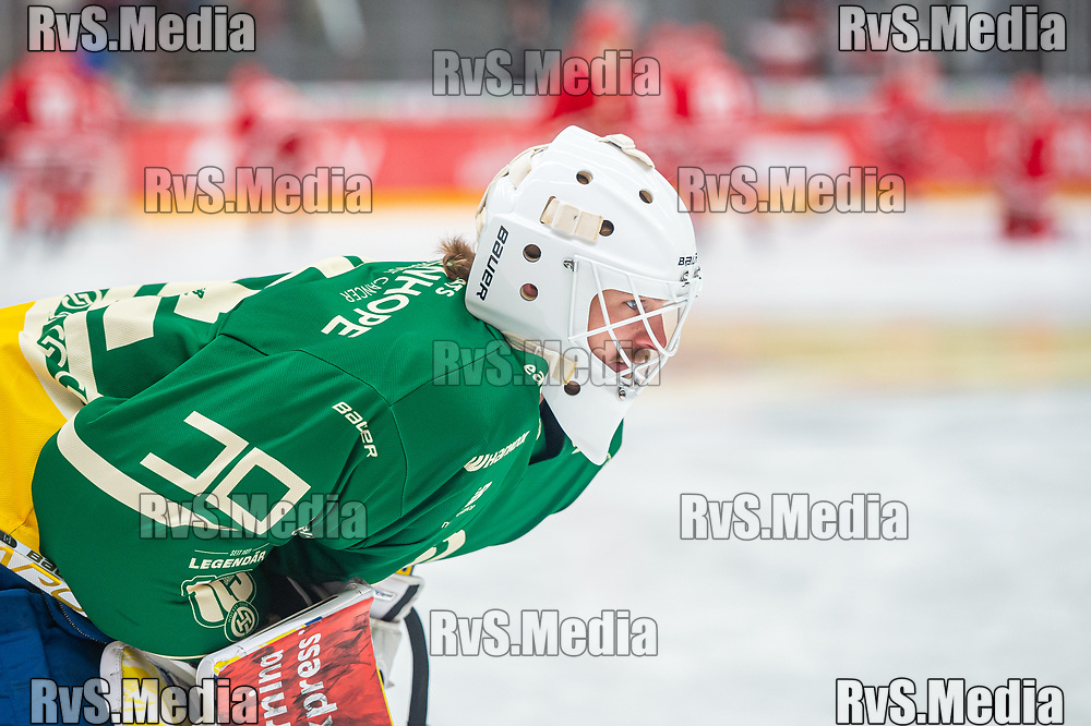 LAUSANNE, SWITZERLAND - SEPTEMBER 24: Goalie Gilles Senn #91 of HC Davos warms up prior the Swiss National League game between Lausanne HC and HC Davos at Vaudoise Arena on September 24, 2021 in Lausanne, Switzerland. (Photo by Monika Majer/RvS.Media)