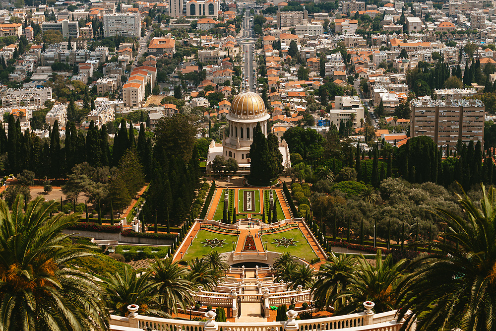 A general view of lower Haifa and The Baha'i Shrine of the Bab and the surrounding Baha'i Gardens, a United Nations-designated World Heritage site on Mount Carmel in Haifa, northern Israel.