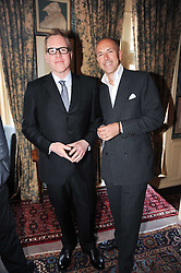 Left to right, BRET EASTON ELLIS and DYLAN JONES at a party to celebrate the publication of Imperial Bedrooms by Bret Easton Ellis held at Mark's Club, 46 Charles Street, London W1 on 15th July 2010.