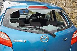 Vandalised car, Wales