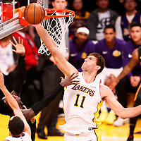 07 January 2018: Atlanta Hawks guard Dennis Schroder (17) is blocked by Los Angeles Lakers center Brook Lopez (11) during the LA Lakers 132-113 victory over the Atlanta Hawks, at the Staples Center, Los Angeles, California, USA.