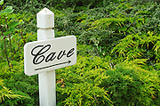 A sign pointing to the wine cellar (Cave) in front of green shrubs at Chateau Soucherie of Pierre-Yves Tijou, Maine et Loire France Anjou