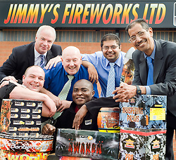 Father and Son team Jimmy Singh managing director (far right) and Paul Singh Director of Jimmy's Fireworks with Staff Graeme Connelly, Wyn Lewis, Mekson Ellendu and NatWest Senior Manager Commercial Banking Andy Tyas (Back Left) at Jimmy's Fireworks new Showroom on the Wentworth Industrial Park, Tankersley, The biggest in the UK 27 July 2010 .Images © Paul David Drabble..
