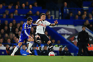 Eden Hazard of Chelsea challenges Kyle Walker of Tottenham Hotspur  .Barclays Premier league match, Chelsea v Tottenham Hotspur at Stamford Bridge in London on Monday 2nd May 2016.<br /> pic by Andrew Orchard, Andrew Orchard sports photography.