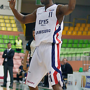 Efes Pilsen's Bootsy THORNTON during their Turkish Basketball league match Efes Pilsen between Antalya BSB at the Ayhan Sahenk Arena in Istanbul Turkey on Wednesday 21 April 2010. Photo by Aykut AKICI/TURKPIX